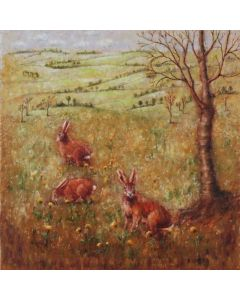 ''Hares in the Field''. Hares.Landscape.