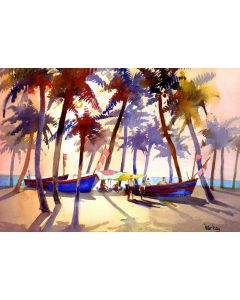 Palm Trees & Fishing Boats, Marari Beach, Kerala, India. Beach, sea and sunset.