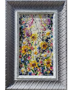contemporary wildflower art in modern grey frame for the modern home.