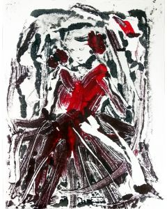 Woman in Red - 2 Woman waiting - Mono Type print on paper