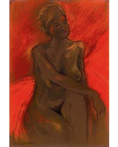 Nude study with an orange background, Giclee print