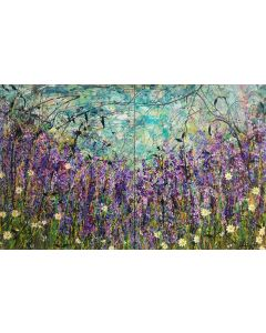 The Lavender Patch, Large painting on two panels