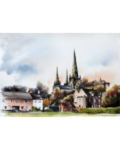 Lichfield Cathedral, watercolour by Graham Kemp.
