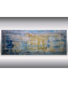 Golden Lines - Abstract Painting on Canvas, Industrial Art