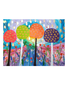 Lollipop Trees among Flowers and Hearts