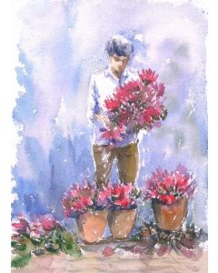 The Lotus Seller - Watercolors on paper- Ordinary People Extraordinary lives