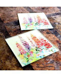 Glass Drink Coasters | Original Artwork Drink Mats | Lupin Flowers Glass Home and Kitchen Ware