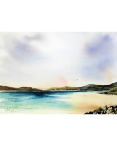 Luskentyre Beach, Original watercolour painting.