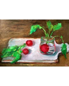 Radishes Still Life Oil Pastel Painting