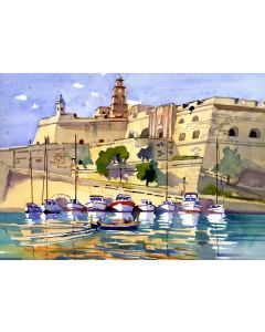 Malta, Vittoriosa across to Senglia, Dockyard Creek, the 3 Cities, Boats, Sea, Fortress