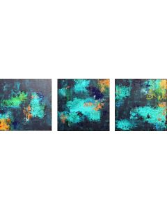 XXL Abstract Midnight River Triptych 150 x 50cm Textured Abstract