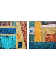 XXXL Abstract Earths Alleyway 180 x 90cm Textured Abstract Diptych