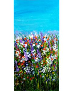 """Summer meadow of flowers 8""""x 16"""" acrylic on canvas"""