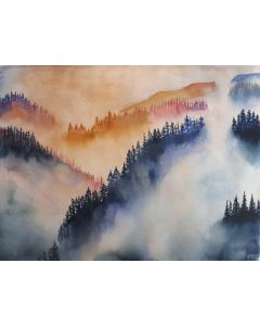 Woodland mountains in mists