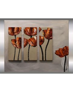 Roter Mohn - Acrylic Painting on Canvas, Abstract Flower Painting, Red Poppies