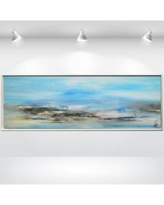 Mystical Landscape - Framed Abstract Landscape Painting, Large Canvas Wall Art