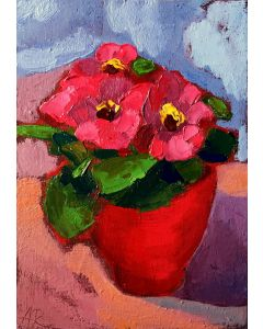 Flowers In Red Pot