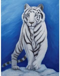 """Wildlife Art, White Tiger, large Oil painting on gallery wrap Canvas, """"Out of the Blue"""" , NO FRAME NEEDED"""