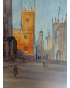Dreaming spires original impressionist watercolour painting