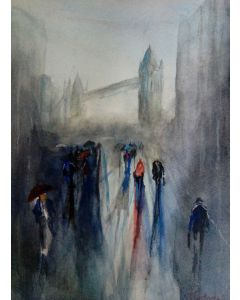 Home time original impressionist watercolour painting