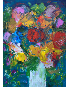 Peonies in a White Vase