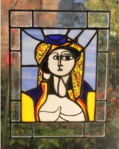 SIGNED Picasso Jaqueline Roque Stained Glass Art Reproduction Tiffany Window Panel