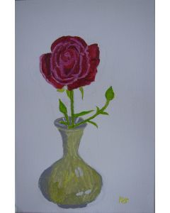Red rose with two buds .
