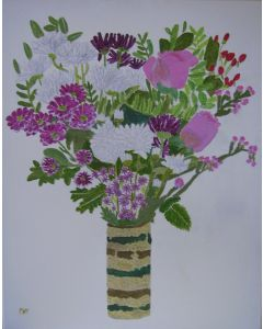 A mixture of flowers in a pottery vase.