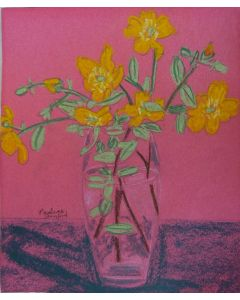 Yellow flowers on a pink background.