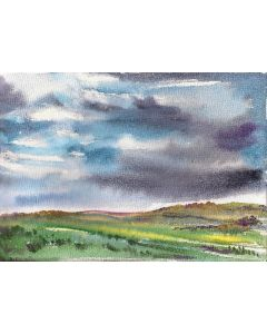 Plains and dark clouds Landscape in watercolours