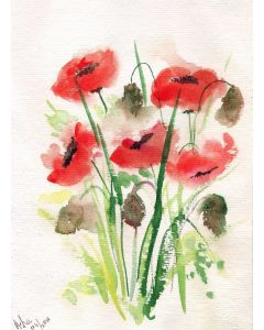 red poppies on handmade paper