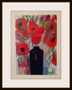 Poppies in a Black Vase