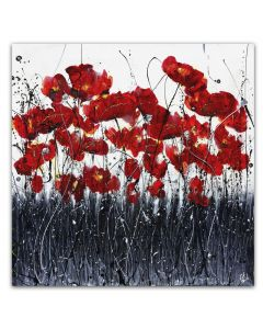 Poppies Silver and Grey