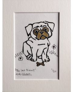 limited edition lino cut print of a pug dog sat in flowers with gold embellishments.