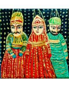 Indian Puppets - Acrylic painting on canvas Ready to Hang