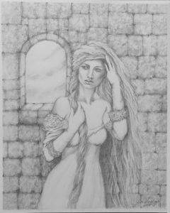 """Rapunzel, black and white drawing on Art paper, unframed, 12"""" x 10"""""""
