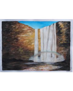 Massive Waterfall | Gouache Painting| Unframed Original A4 Painting on Paper 160gsm