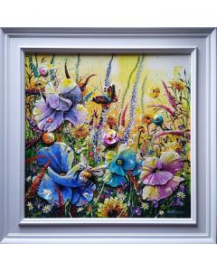 red admiral butterfly and wild flowers art sculpture for stunning interior design decoration. Luxury statement artworks for sale. Buy art online.