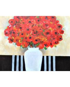Red Flowers in a White Vase