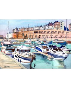 Ramsgate, View across the Harbour. Kent Arches and Boats