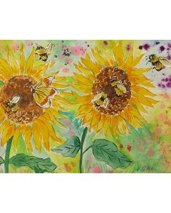 Bumblebee and a Butterfly among Sunflowers