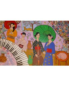 Japanese Geishas. a Piano, Cello and some Cats, Quirky Folk Art Painting