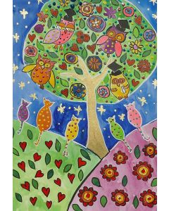 Colourful, Quirky Owls on a Folk Art Tree