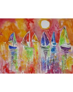 Colourful Sailing Boats in a beautiful Sunset Sky