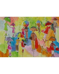 Quirky, Colourful Umbrella Painting