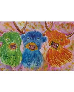 Three quirky Colourful Highland Cows