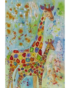 Colourful Mother and Baby Giraffes