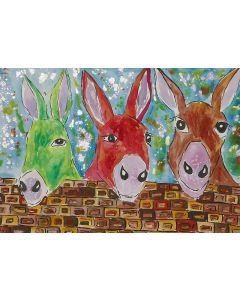 Three Quirky Colourful Donkeys chatting over the Wall