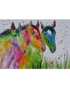 Colourful Horses, Three Heads are better than one!