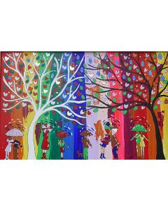 Colourful Umbrellas under the Yin and Yang Trees